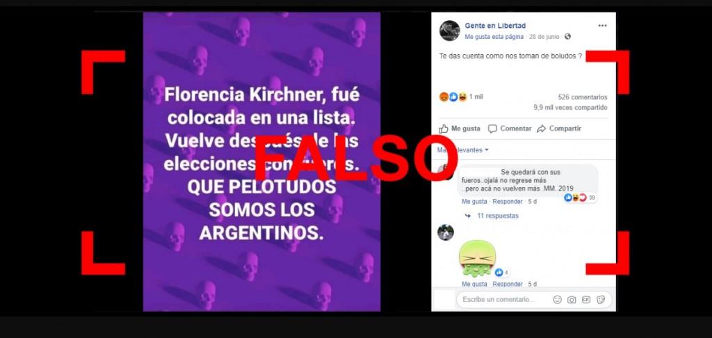 Florencia Kirchner no será candidata en las próximas elecciones tal como se prentedió instalar a partir de algunas publicaciones en redes sociales (Reverso).