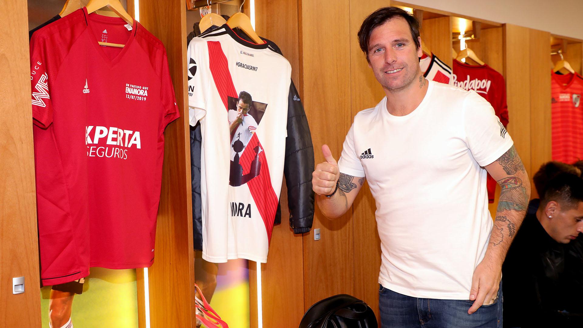 Fernando Cavenaghi también asistió al partido homenaje, junto con Mora consiguieron la Libertadores 2015