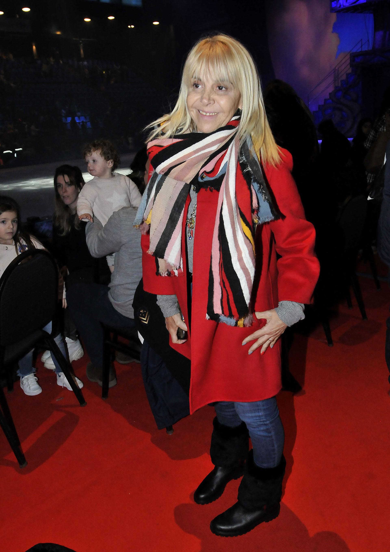 Claudia Villafañe también asistió al show de patinaje sobre hielo de Disney