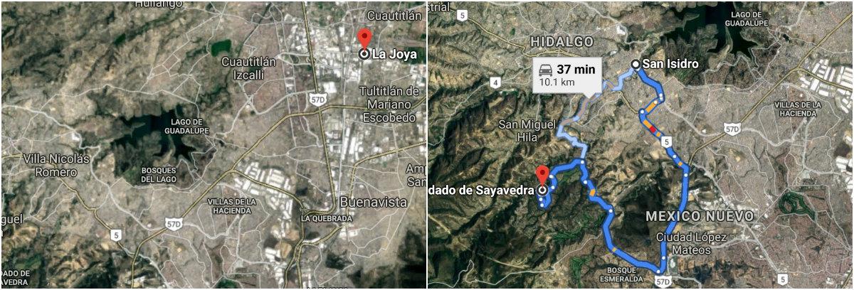 Alexandra salió de San Isidro con dirección a la casa paterna (primera fotografía), sin embargo su cuerpo fue encontrado al día siguiente del otro lado a donde se dirigía , en el Condado de Sayavedra Foto: Google Maps