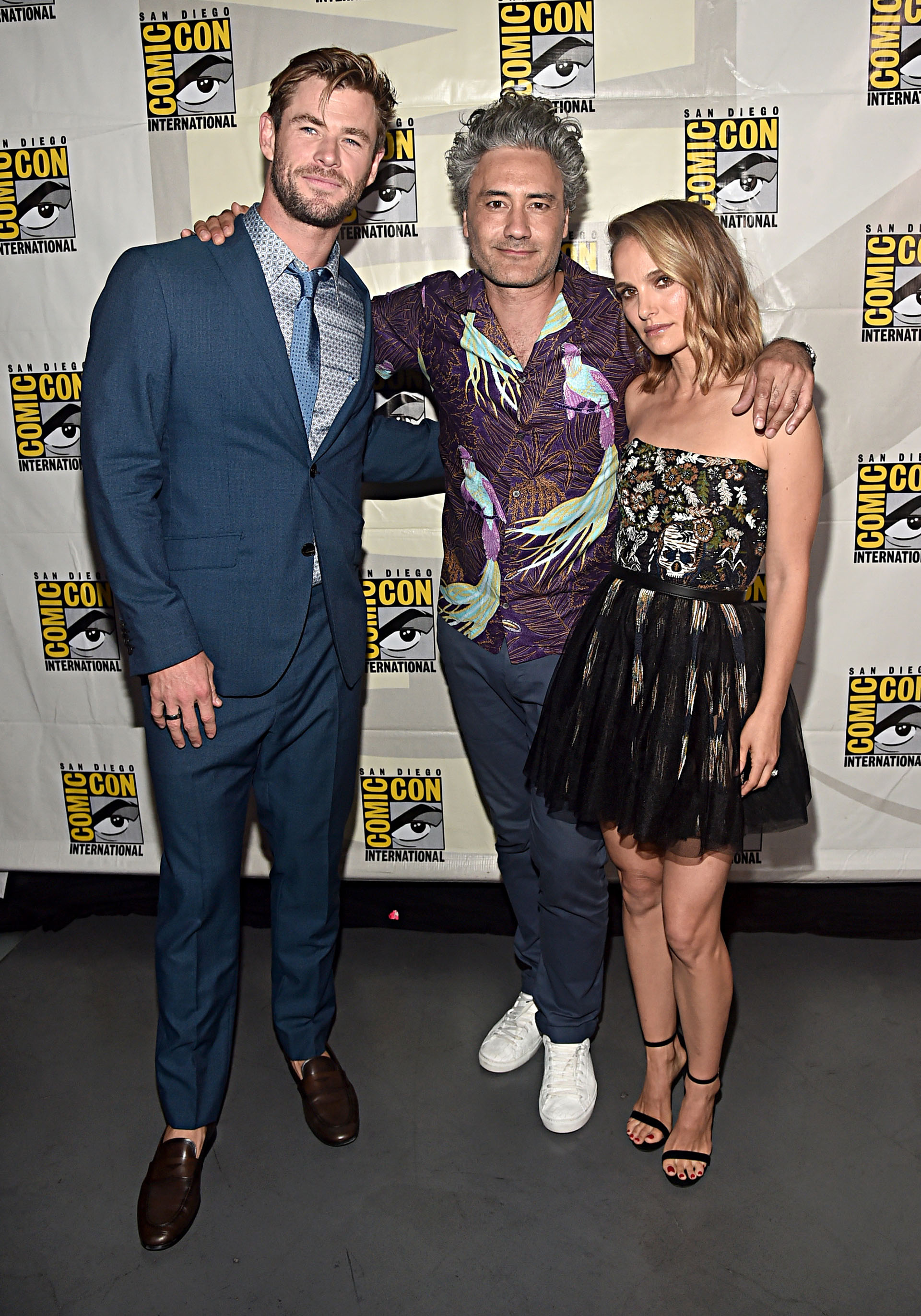 Chris Hemsworth, Director Taika Waititi y Natalie Portman