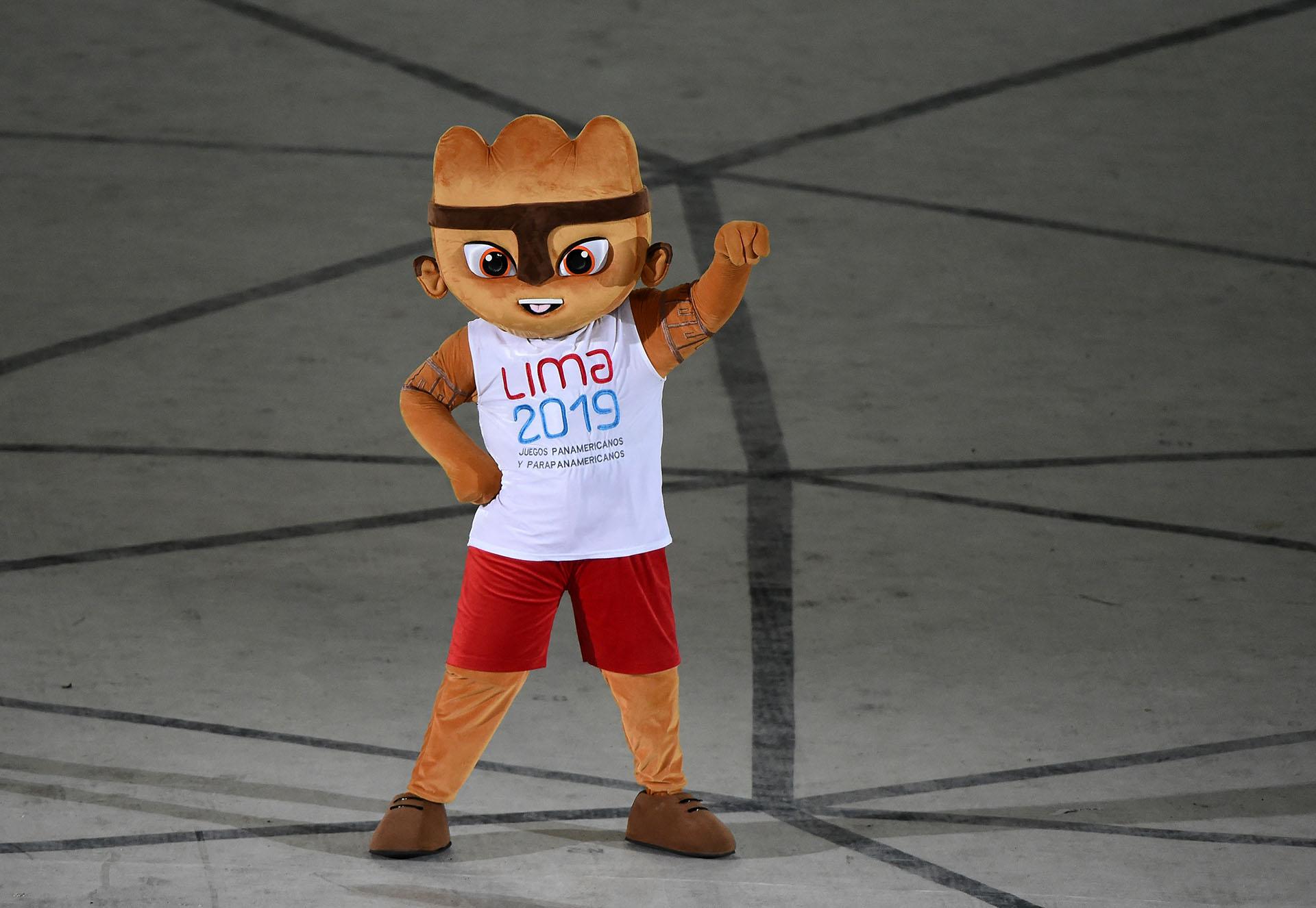 Milco, la mascota de Lima 2019 (Photo by Luis ROBAYO / AFP)