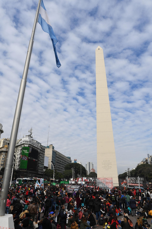 El epicentro de la protestafuela avenida 9 de Julio, en la zona del Obelisco