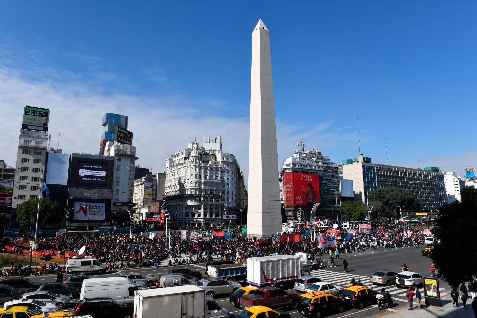 La medida se realizó en el Obelisco y causó un caos de tránsito sobre la avenida 9 de Julio