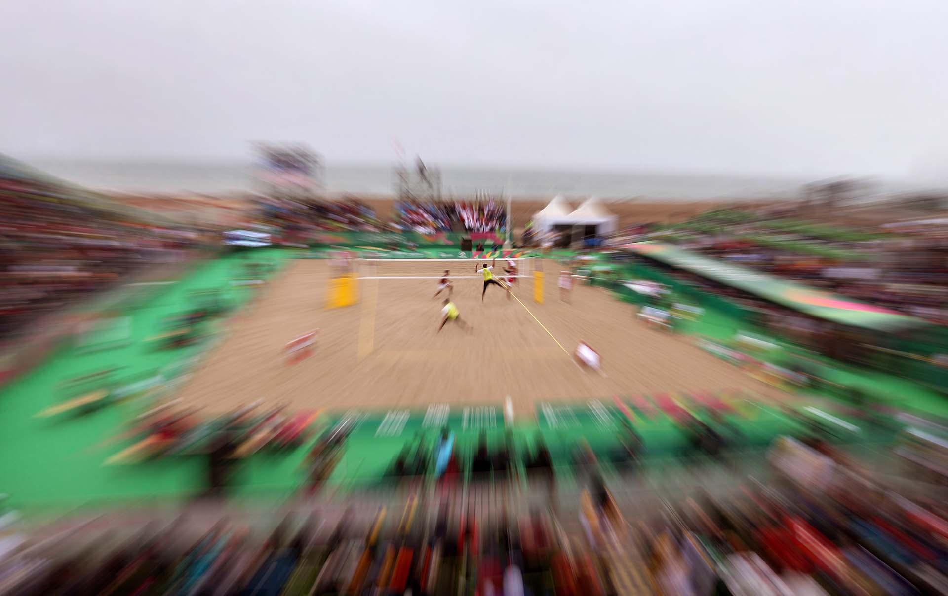 Vista general del partido debeach volleyball entre Chiley México, donde los chilenos se llevaron el oro. (Photo by Luka GONZALES / AFP)