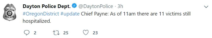 """""""#DistritodeOregon #actualización Jefe Payne: Hoy a las 11:00 horas hay aún 11 víctimas hospitalizadas"""" (Foto: Twitter @DaytonPolice)"""