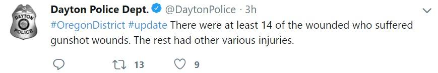 """""""Hubo al menos 14 lesionados que sufrieron heridas de bala. El resto tenían distintas heridas"""" (Foto: Twitter @DaytonPolice)"""