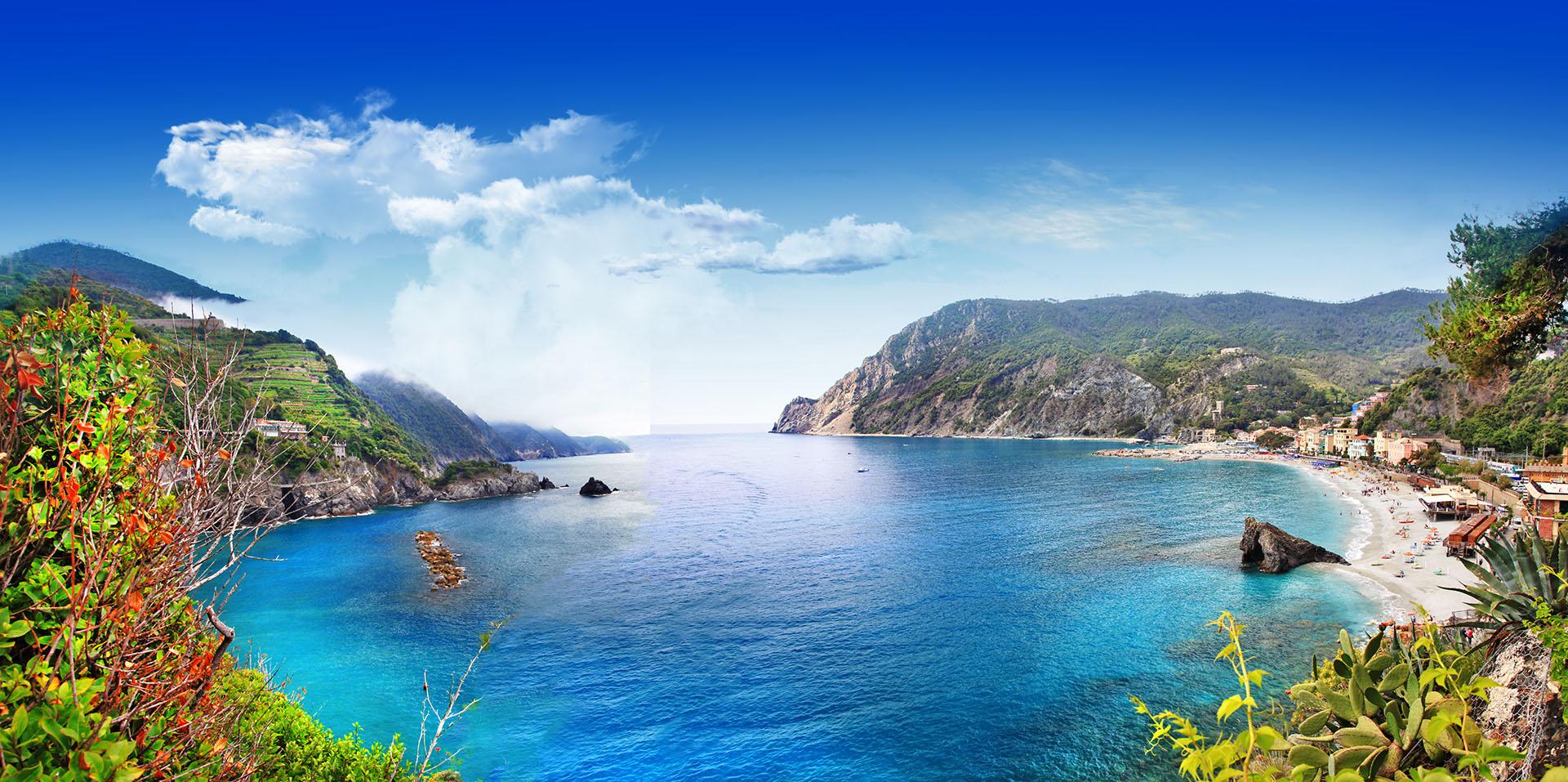La playa de Monterosso, la más grande de las cinco ciudades costeras que conforman la famosa región de Cinque Terre, posee hermosos arrecifes y aguas cristalinas y es uno de los destinos más poblados de la región