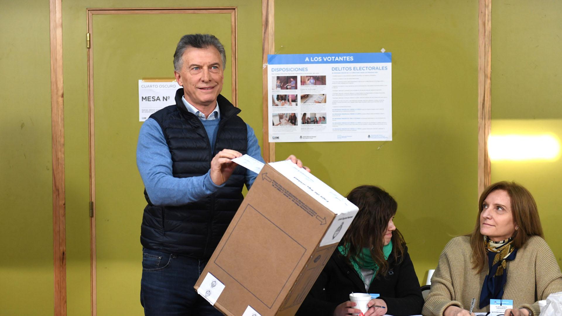 Mauricio Macri. El presidente votó pasadas las 11