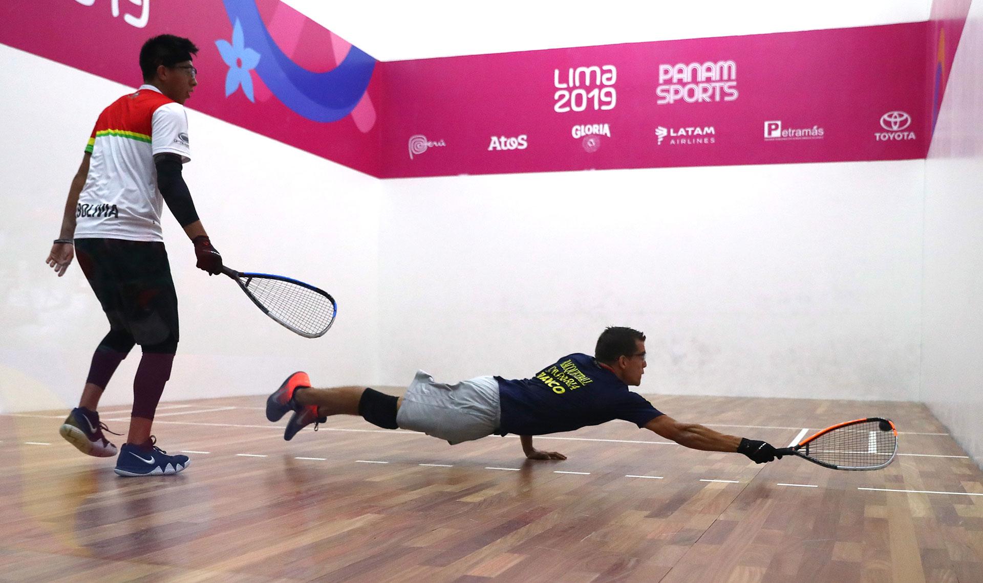El colombiano Sebastian Franco y el boliviano Carlos Keller se enfrentaron en raquetbol