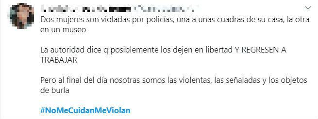 El hashtag #NoMeCuidanMeViolan ha sido usado en Twitter 56,1 mil veces (captura de pantalla)
