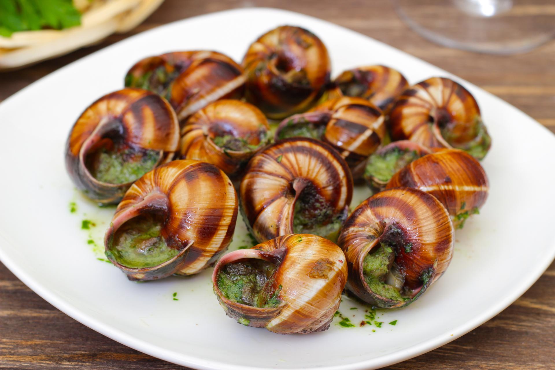 El escargot o caracol es un plato de caracoles de tierra cocidos, que por lo general se sirve como entrada