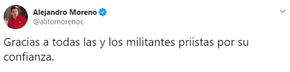 Alejandro Moreno agradeció a través de Twitter (Foto: Twitter)