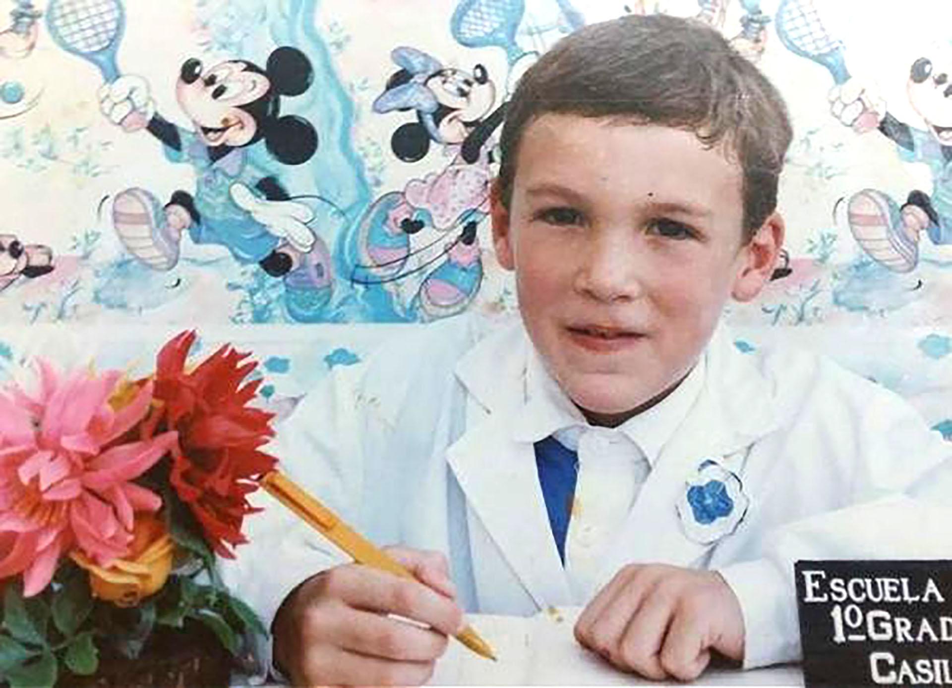 Franco Armani cursando el primer grado en su escuela de Casilda, Santa Fe