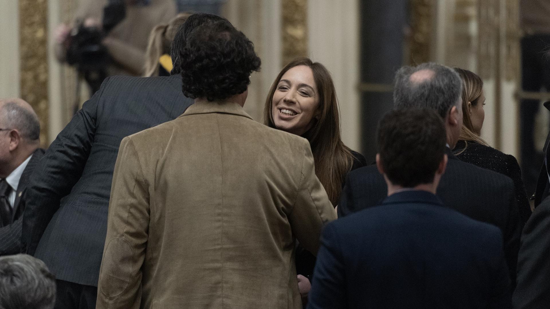 María Eugenia Vidal en el salón Blanco de la Rosada antes de la jura de Hernán Lacunza