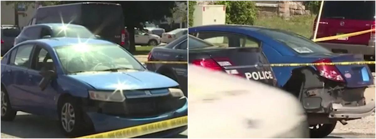 La mujer estrelló su auto al intentar huir de la casa y los vecinos llamaron a la policía que lograron ayudarla y llevarla a un hospital Foto: Impresión de pantalla Fox 8 News