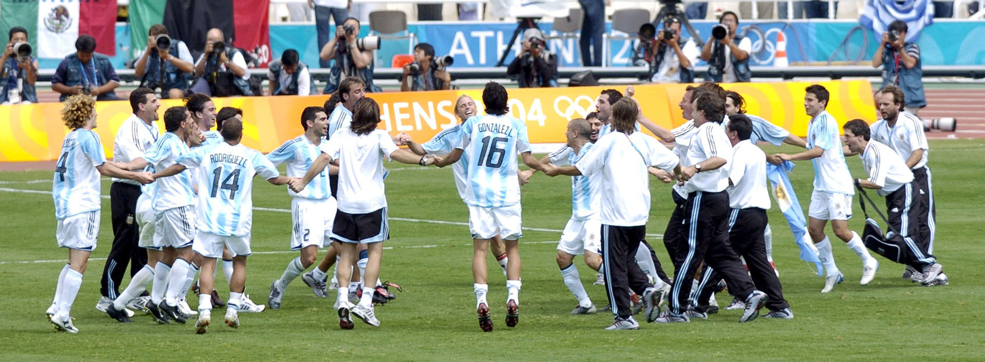Mandatory Credit: Photo by Shutterstock (493079b) FOOTBALL FINAL - ARGENTINA V PARAGUAY No 6 GABRIL HEINZE (ARG). ARGENTINA WIN THE GOLD. 2004 OLYMPIC GAMES, ATHENS, GREECE - 28 AUG 2004