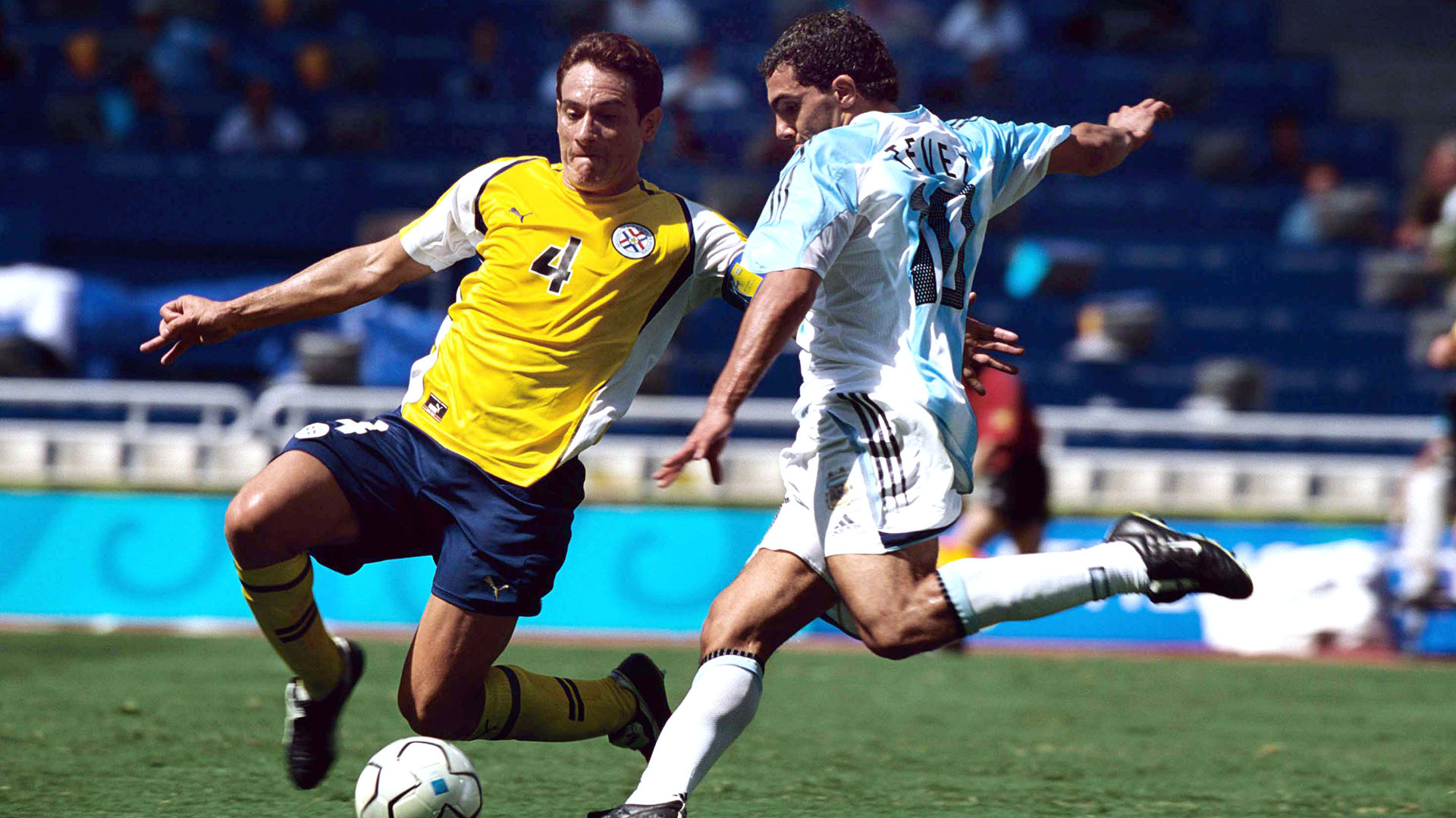 Mandatory Credit: Photo by Colorsport/Shutterstock (7435973y) Carlos Tevez (Argentina) Carlos Gamarra (Par) Mens Football Final Argentina v Paraguay 28/8/2004 Athens Olympics 2004 Athens Olympics - 28 Aug 2004