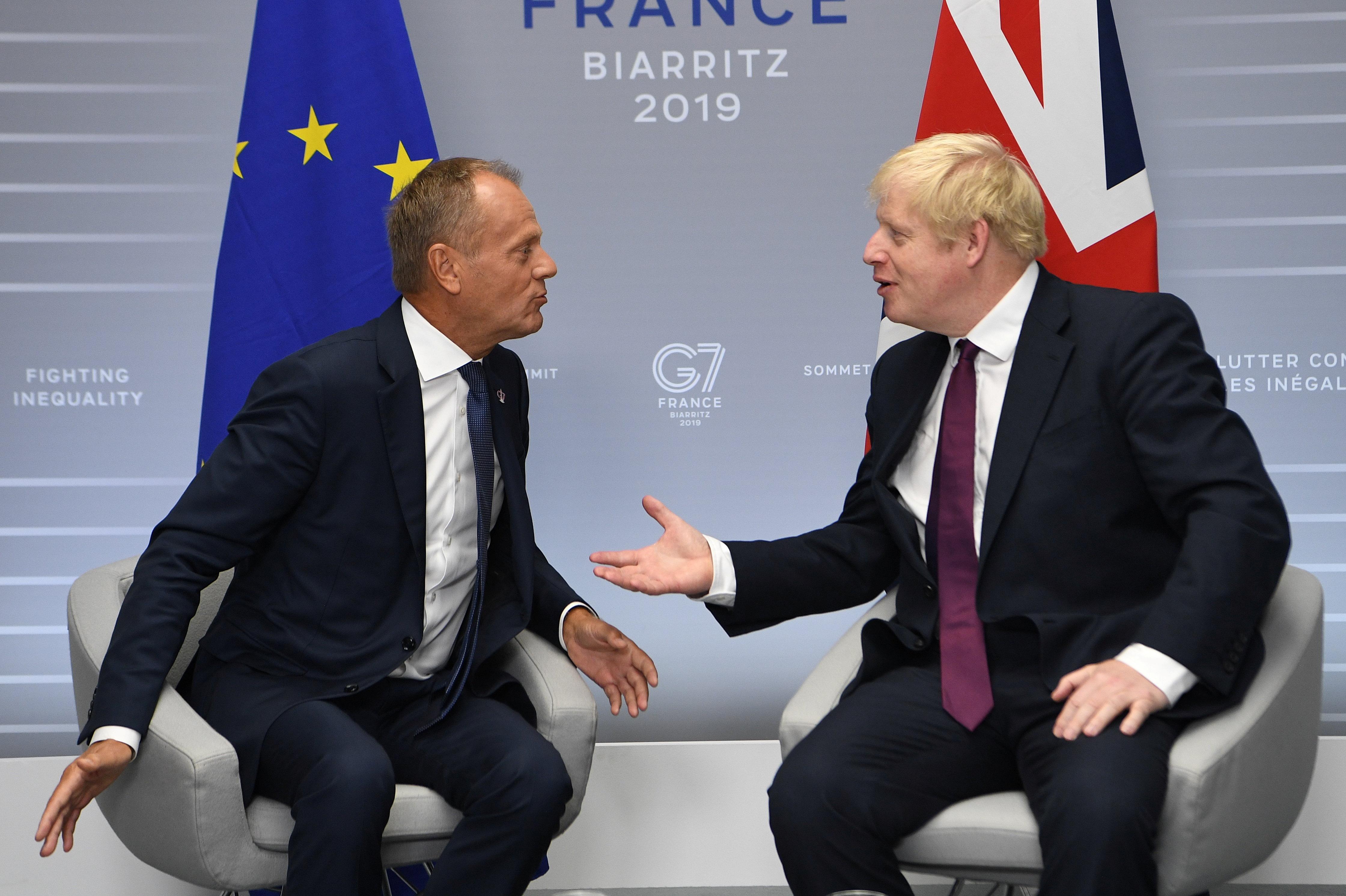 Donald Tusk, presidente del Consejo Europeo, y el premier británico, Boris Johnson, tuvieron un encuentro que no reflejó la actual tensión entre Bruselas y Londres por el inminente Brexit