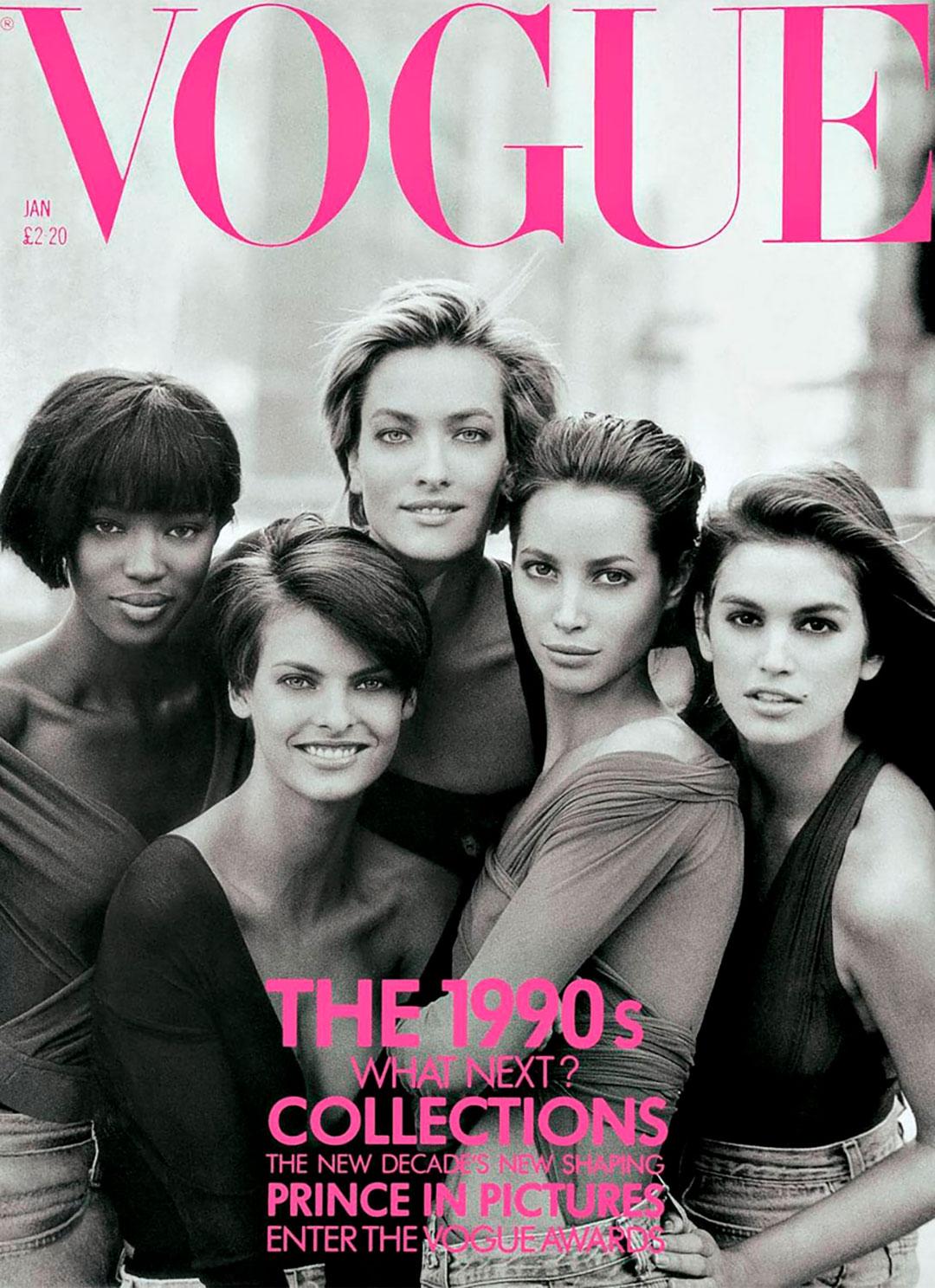 Cindy Crawford, Naomi Campbell, Tatjana Patitz, Christy Turlington y Linda Evangelista fueron las supermodelos de los 90 fotografiadas en enero de 1990 para la portada de Vogue UK bajo la lente de Peter Lindbergh