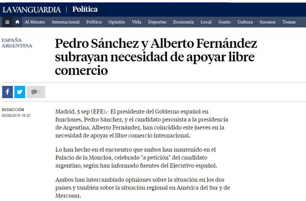 cobertura de visita de Alberto Fernandez a Espana la vanguardia adentro