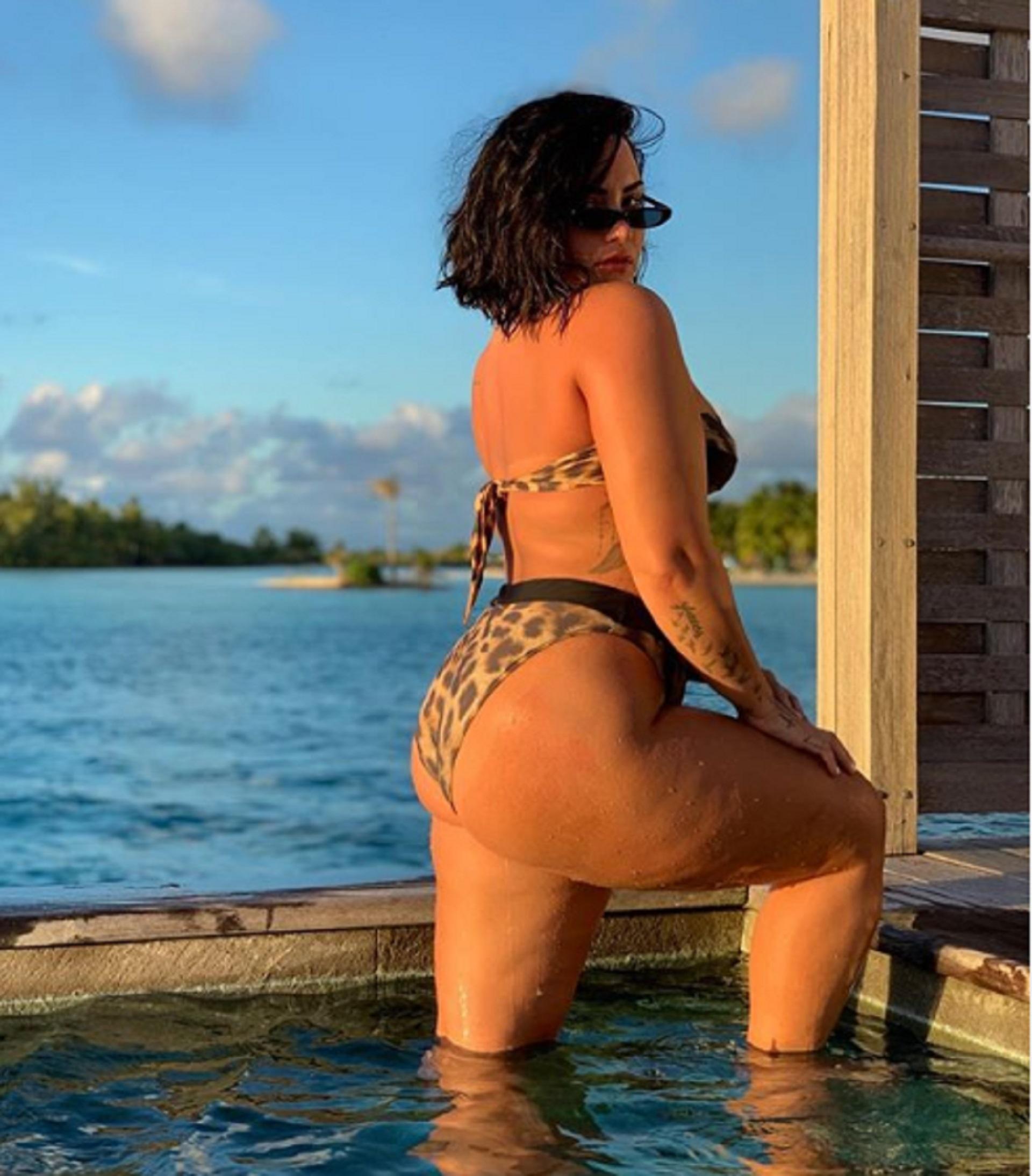 """Demi Lovato compartió una imagen al natural con un valioso mensaje: """"Este es mi mayor temor. Una foto mía en bikini sin editar. ¿Y adivina qué? ¡Es celulitis!"""", redactó la cantante en su cuenta de Instagram"""