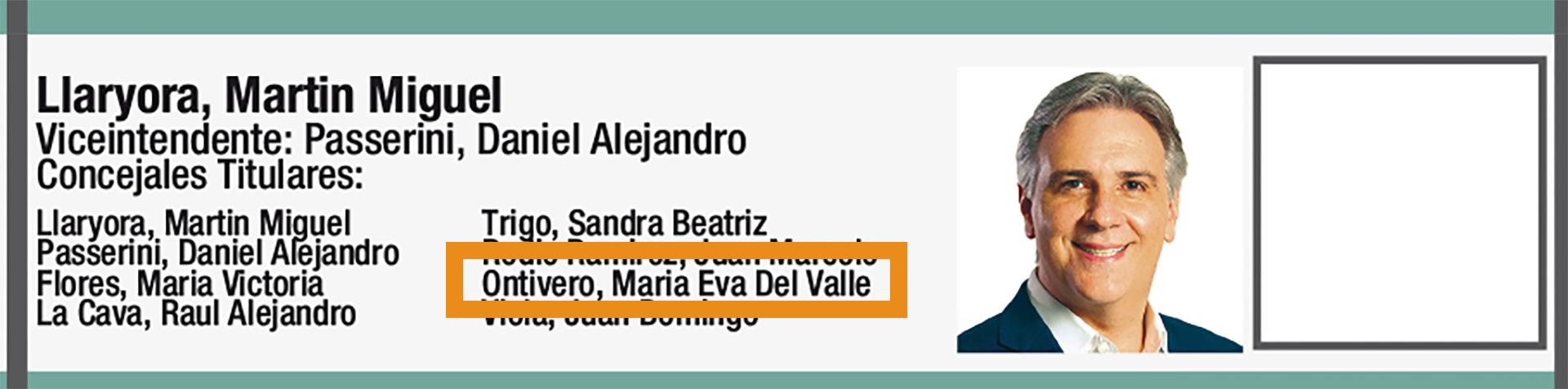 Eva Ontivero figuraba como candidata a concejal del espacio de Llaryora en la BUS