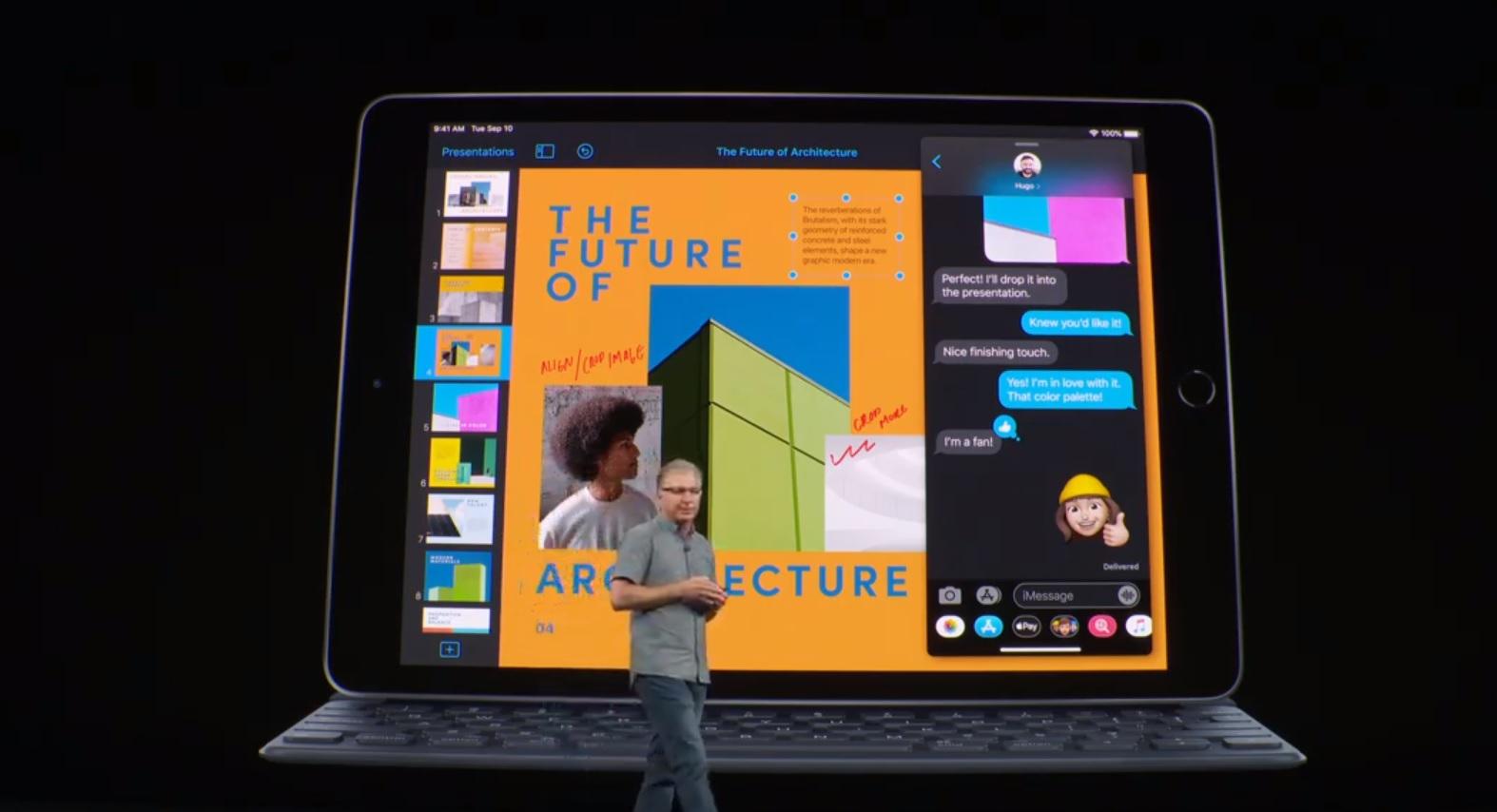 El iPad integra una pantalla Retina de 10,2 pulgadas, chip A10 Fusion, conector inteligente para utilizar con teclado, cámara de 8 MP y hecha con aluminio 100% reciclado