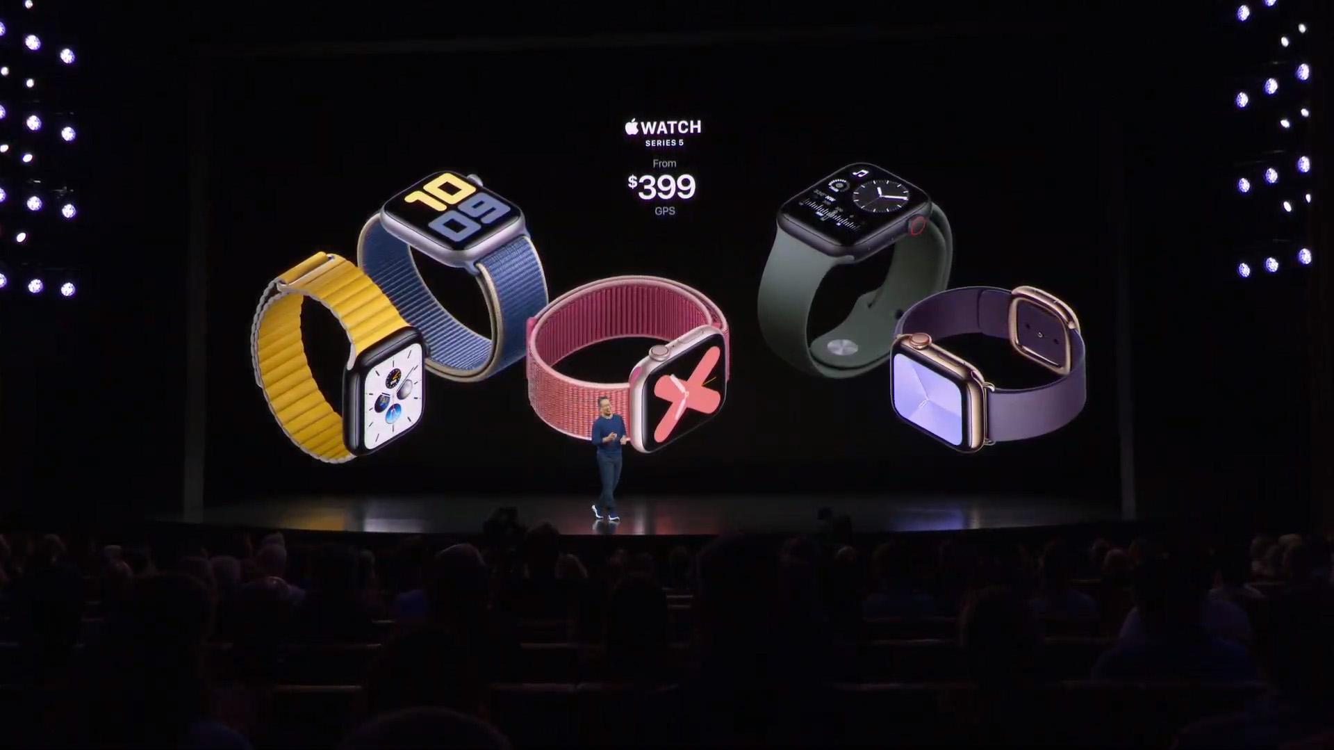 El Apple Watch Series 5 costará USD 399 con GPS y a USD 499 para el que ofrece conexión celular