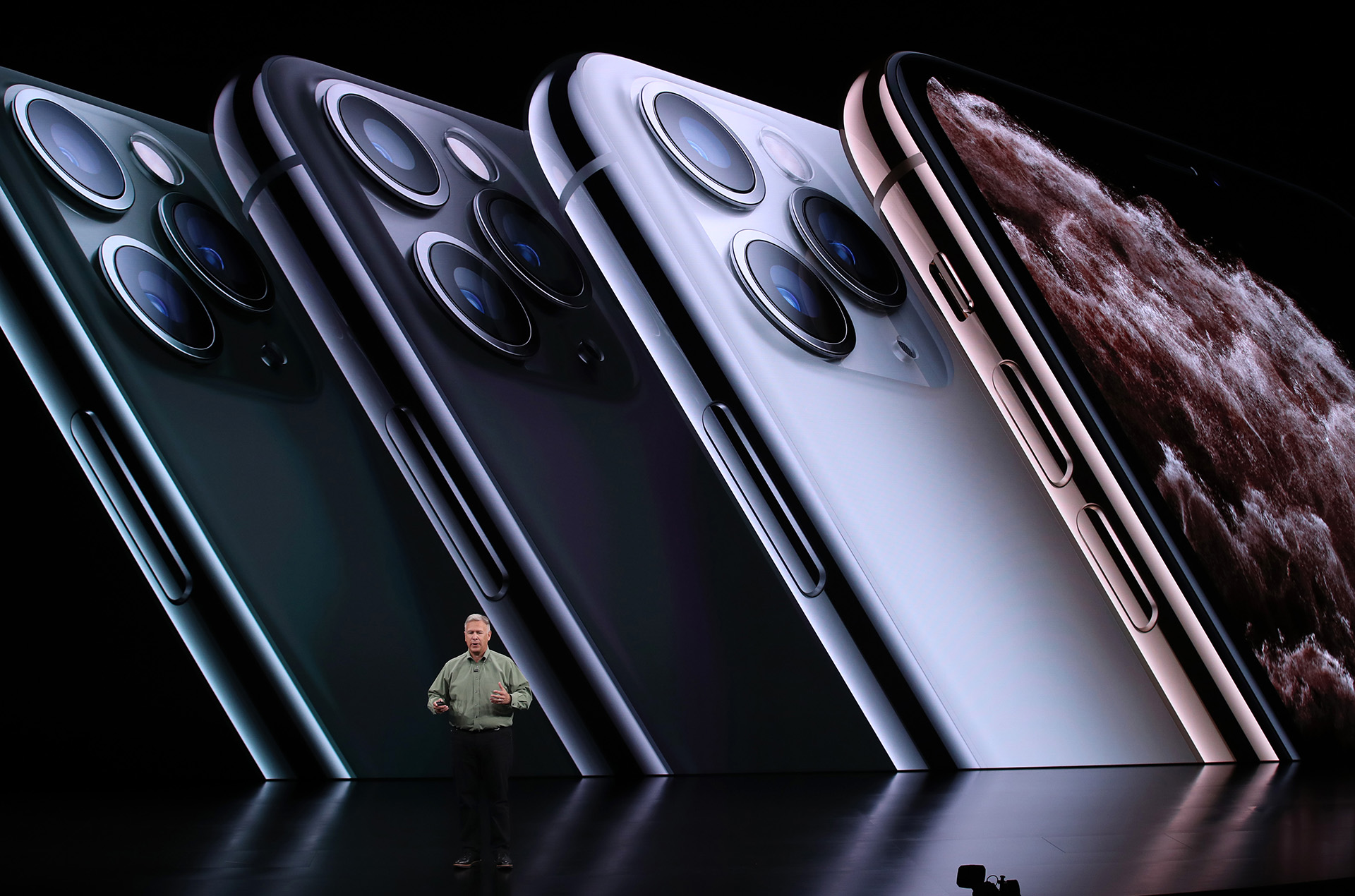 Phil Schiller, vicepresidente senior del marketing mundial de Apple, contó las características del iPhone 11 Pro (Justin Sullivan/Getty Images/AFP)