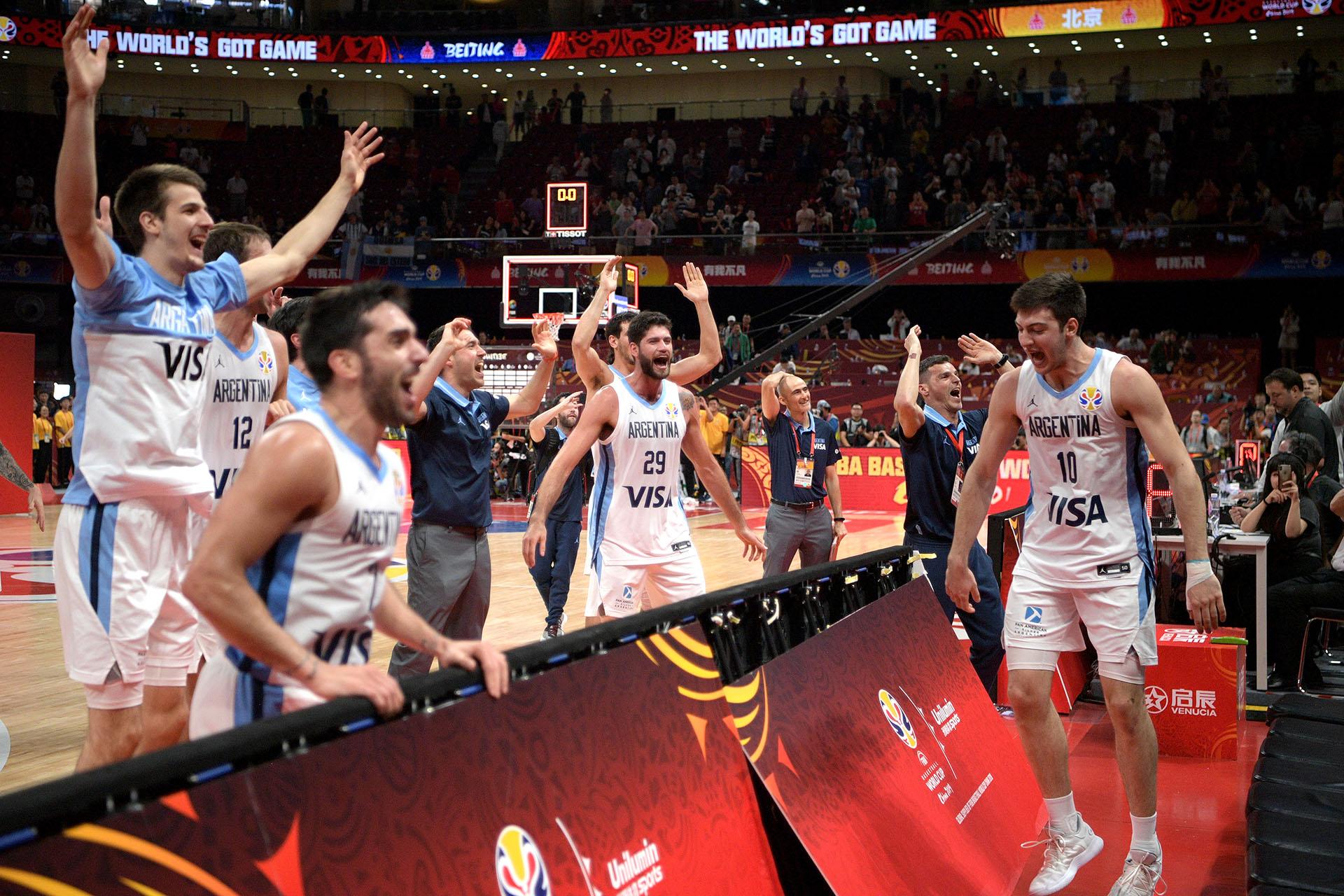 Los festejos del equipo después del pase a la final del Mundial (Photo by NOEL CELIS / AFP)