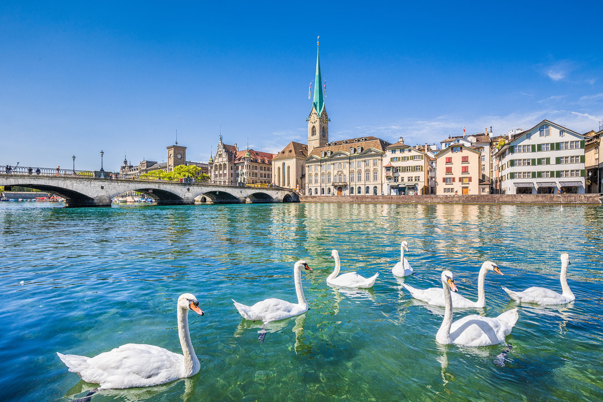 Está en el extremo norte del lago de Zúrich y es ideal para quienes quieran conocer la ciudad mirando y paseando con botes observando las famosas estatuas, casas hasta llegar a los Alpes suizos