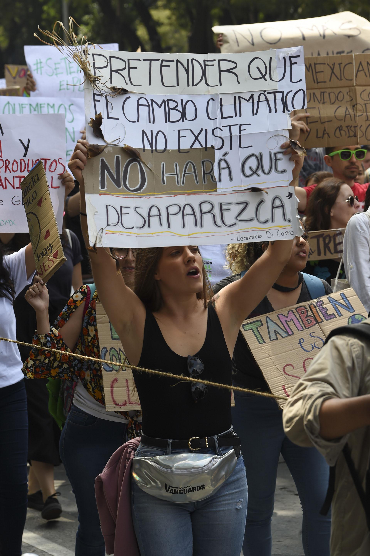 En Ciudad de México hubo una manifestante que citó al actor Leonardo Di Caprio (AFP)