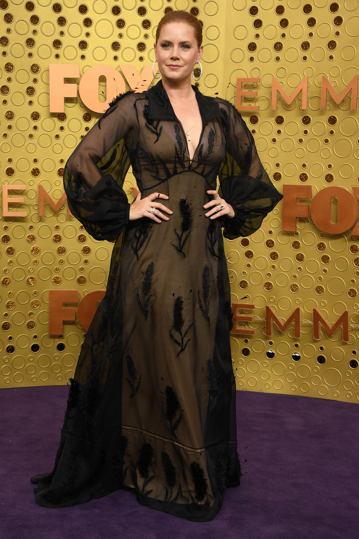 Amy Adams llegó a la alfombra violeta de los Emmy Awards con un diseño realizado en gasa bordado con flores con un gran escote en V y mangas abullonadas. La actriz completó su look con argollas plateadas y anillos