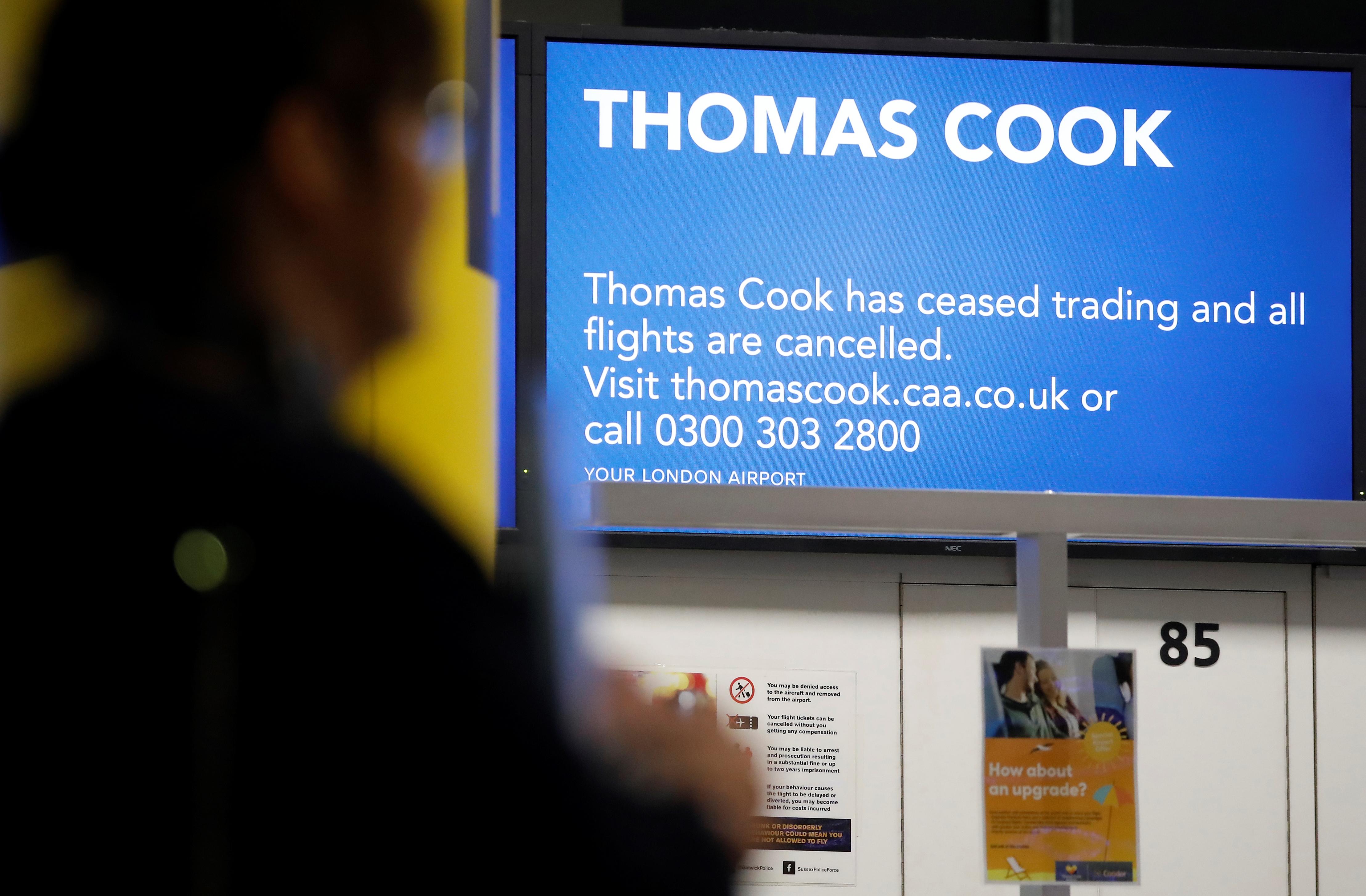 Un eventual colapso de Thomas Cook podría forzar a la Autoridad de Aviación Civil a repatriar a los clientes afectados por un coste estimado en 600 millones de libras (USD 750 millones)