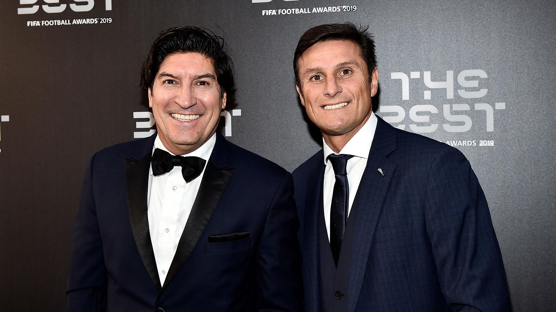Los ex futbolistas Iván Zamorano y Javier Zanetti