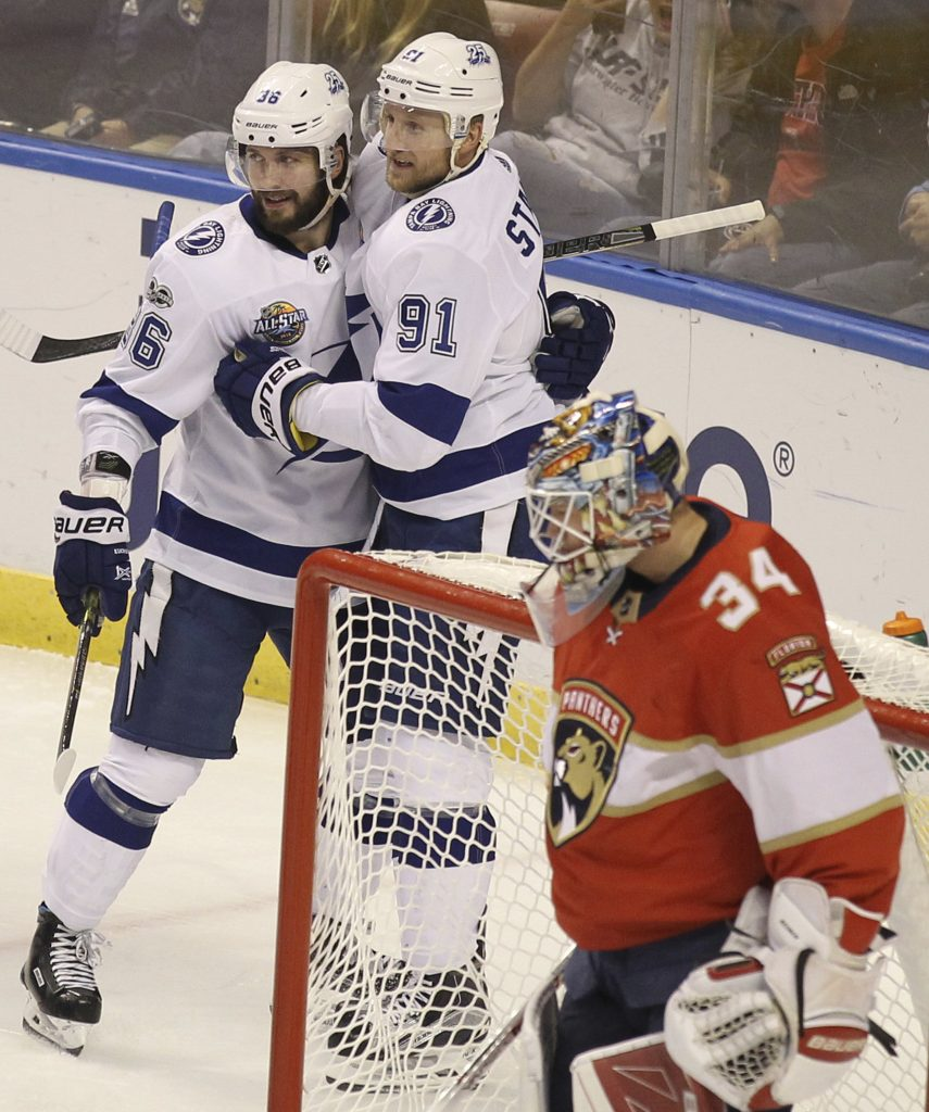 Nikita Kucherov, top left, celebrates with teammate Steven Stamkos (91) after scoring against Florida Panthers goalie James Reimer. [AP photo]