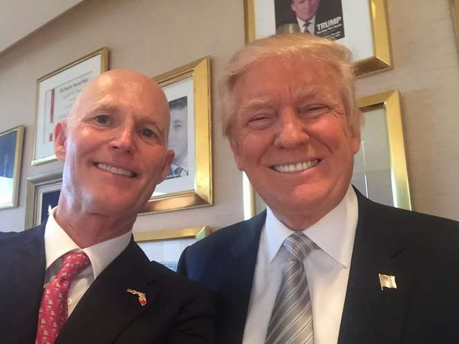 File photo of Gov. Rick Scott and then-candidate Donald Trump. [Twitter]