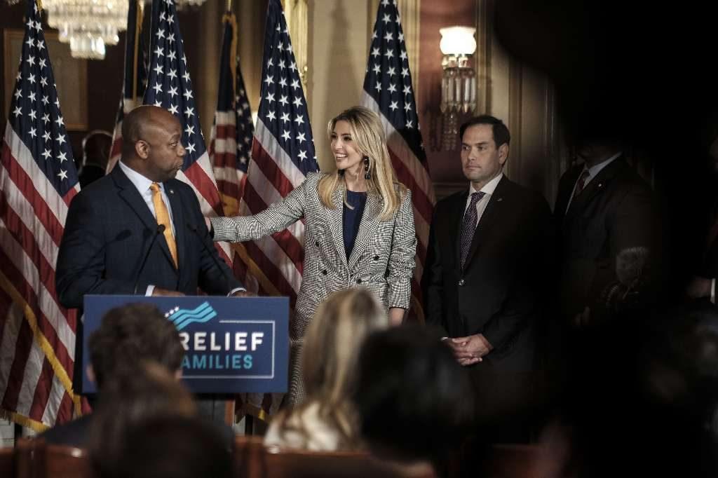 Sen. Tim Scott (R-S.C.), Ivanka Trump, and Sen. Marco Rubio (R-Fla.) at a news conference regarding tax policy, on Capitol Hill in Washington on Oct. 25, [Gabriella Demczuk/The New York Times]