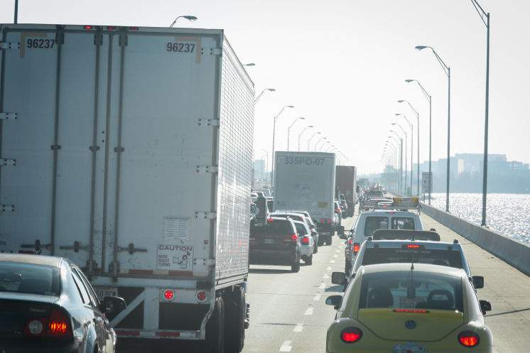 Traffic is seen during morning rush hour on Interstate 275 headed northbound on the Howard Frankland Bridge. State officials say they have a plan to relieve congestion by adding an extra lane to both north and southbound I-275 approaching the bridge on the Tampa side. [LOREN ELLIOTT   Times]