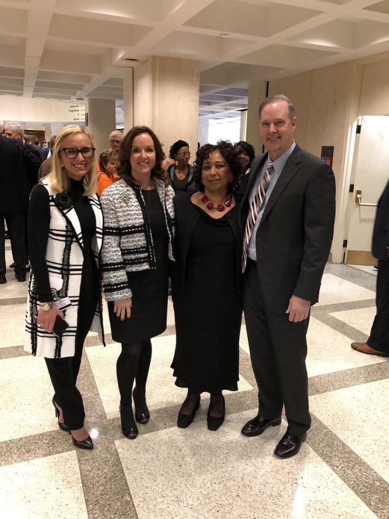 Senators Lauren Book (lfar left), Lizbeth Benacqusito (center left) and Wilton Simpson with Sherry Johnson. [Twitter]