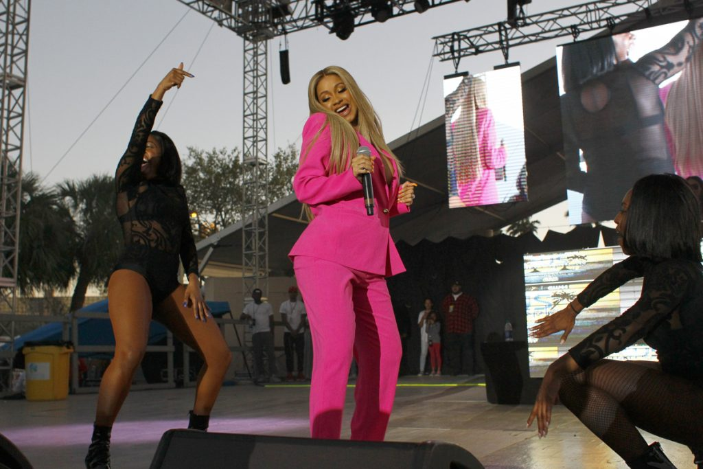LUIS SANTANA   |   Times Cardi B performs on stage at Wild 94.1's Wild Splash concert at Coachman Park in Clearwater. [Luis Santana | Times]