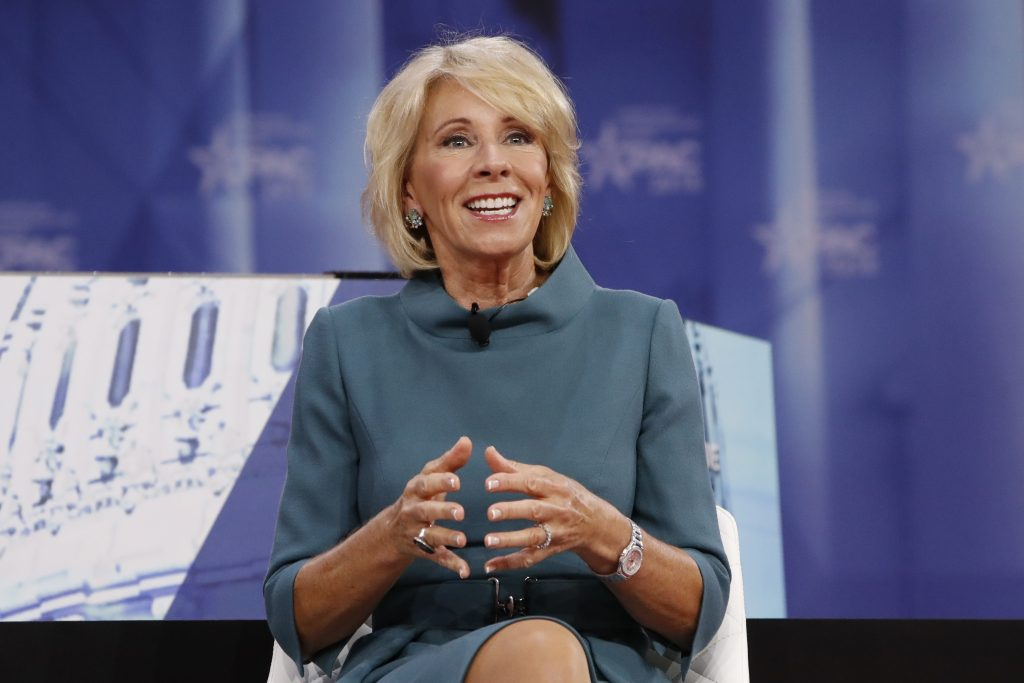 Education Secretary Betsy DeVos speaks during the Conservative Political Action Conference (CPAC), at National Harbor, Md., Thursday, Feb. 22, 2018. [Jacquelyn Martin | Associated Press]