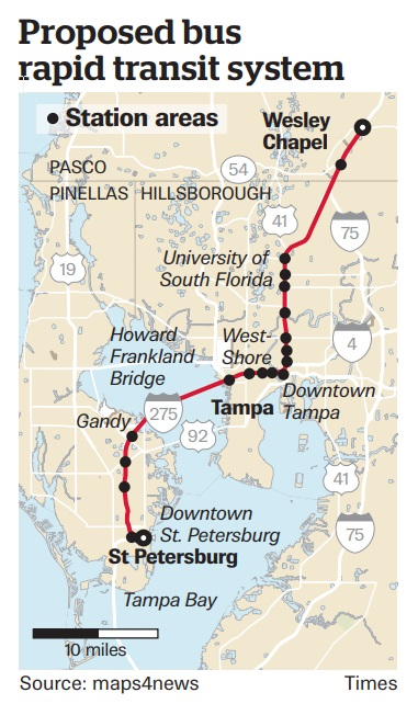 Map Of Tampa Bay Florida.What Could Brt Look Like In Tampa Bay Here Are Three Examples
