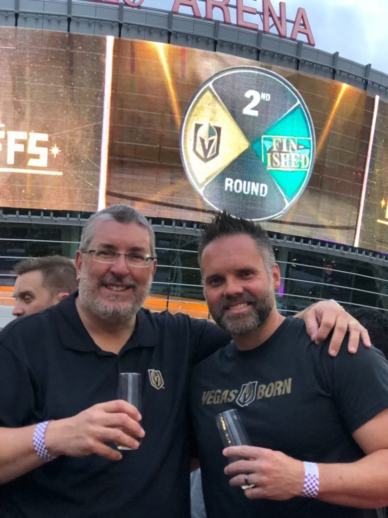 Former Tampa Bay Buccaneers executives Jim Frevola, left, and Brian Killingsworth, right, are part of the front office for the Vegas Golden Knights, who face Washington in the Stanley Cup final starting Monday in Las Vegas. [Photo provided]
