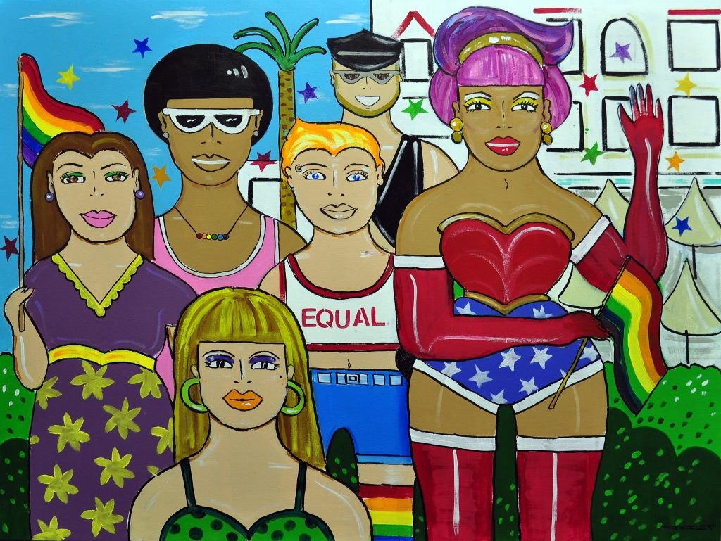 Join My Tribe, by M'ria Mezzaninne is part of the Pride Without Prejudice exhibition. [Courtesy of John Gascot]