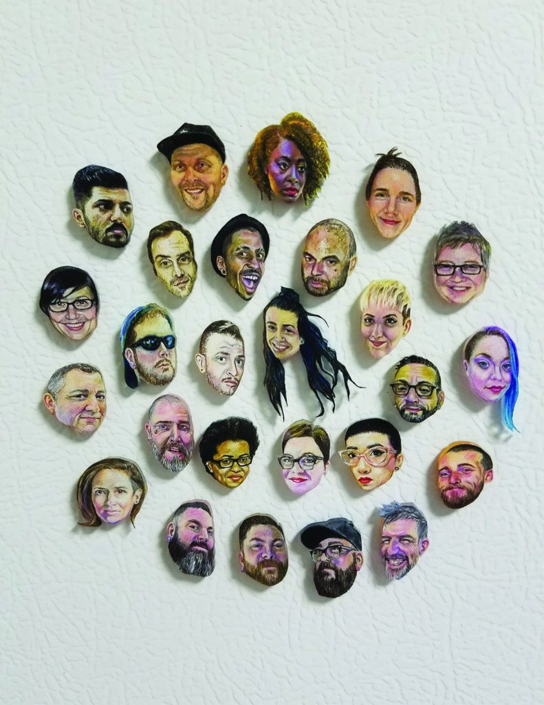 "Katie Niewodowski's portraits in shrinkable plastic, ""People Are People"" is part of the Pride and Joy exhibit at the Mize gallery. [Courtesy of Chad Mize]"