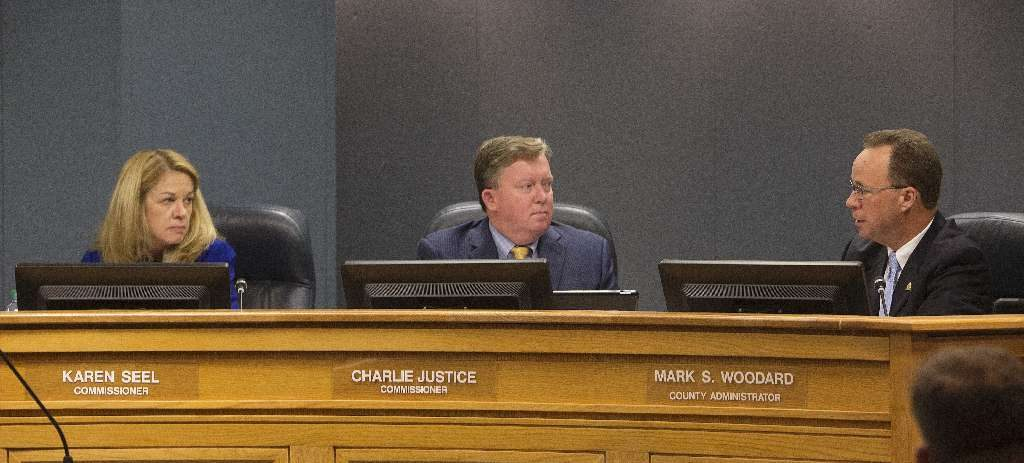 Pinellas County commissioners Karen Williams Seel, Charlie Justice, and County Administrator Mark S. Woodard, talk about the Pinellas County Construction Licensing Board in 2017. [SCOTT KEELER | Times]