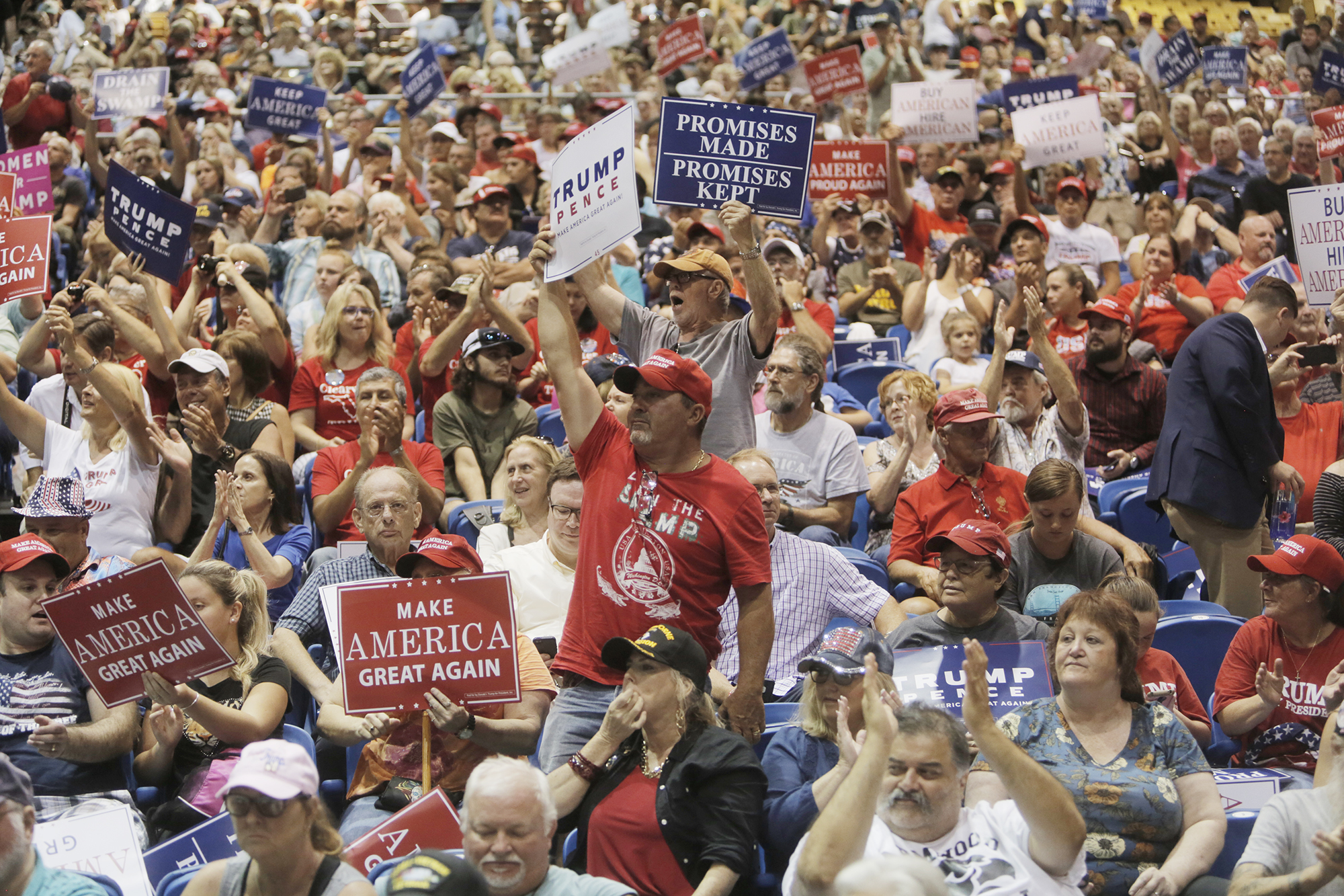 Supporters of President Donald Trump fill the stands during a rally at the Florida State Fairgrounds in Tampa on Tuesday