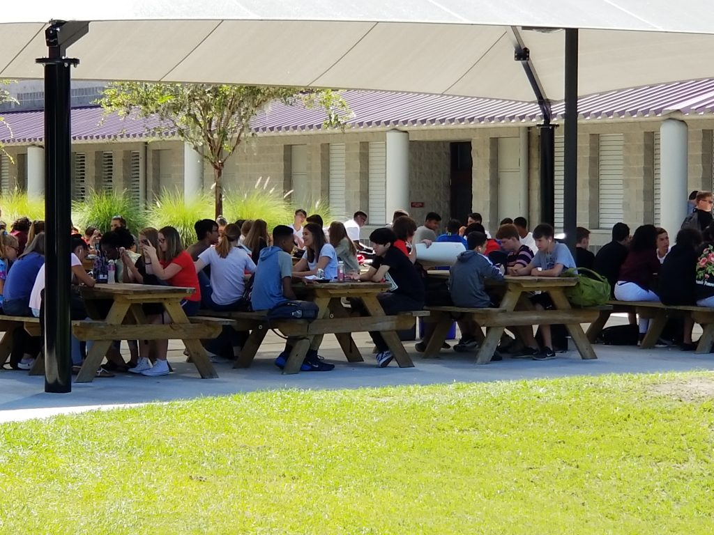 Wiregrass Ranch High has added outdoor seating to accommodate students during large lunch periods. [Jeffrey S. Solochek | Times]